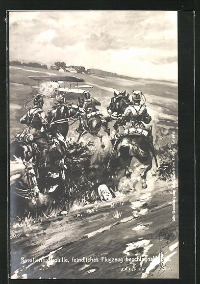 Künstler-AK Court Barber: Kavalleriepatrouille, feindliches Flugzeug beschlagnehmend