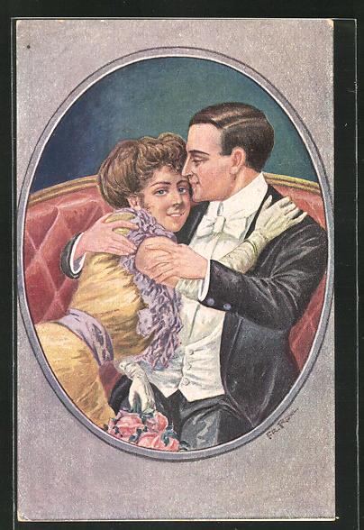 Künstler-AK sign. Fr. Rowland: Liebespaar in vertrauter Pose auf dem Sofa