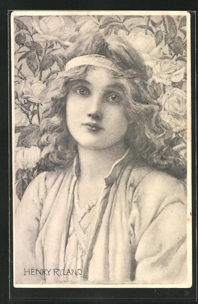 Künstler-AK Henry Ryland: Hübsches Mädchen mit Stirnband