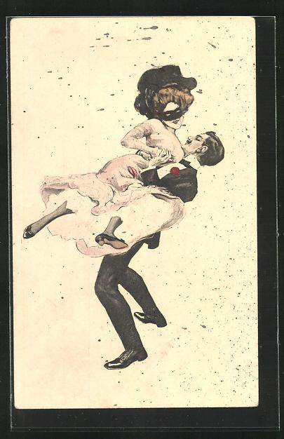 Künstler-AK Simplicissimus: Paar beim ausgelassenen Tanz