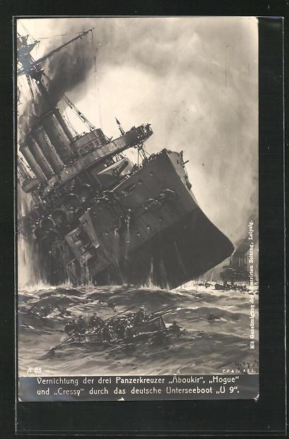 Künstler-AK Willy Stoewer: Vernichtung dreier englischer Panzerkreuzer durch deutsches U-Boot U 9