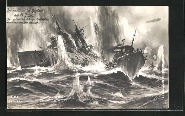 Künstler-AK Willy Stoewer: Kriegsschiff Lion wird von einem deutschen Boot torpediert, Seeschlacht bei Helgoland