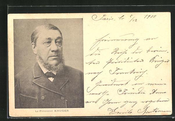 AK Präsident Krüger, Halbportrait im Anzug, Burenkrieg