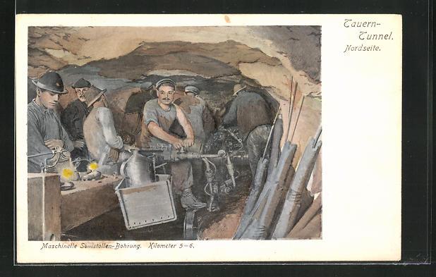 AK Tauerntunnel, Arbeiter bei der Stollenbohrung, Bergbau
