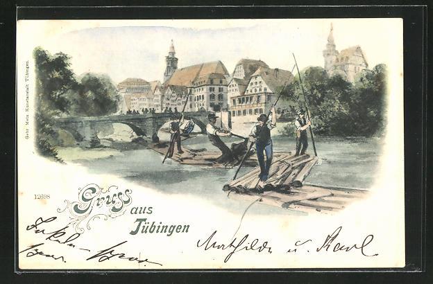 AK Tübingen, Forstwirtschaft, Flösser auf dem Fluss