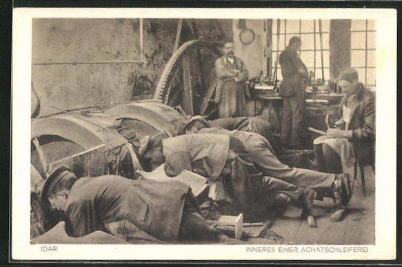 AK Idar, Arbeiter in einer Achatschleiferei