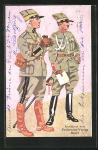 AK Schweizer Offiziere, Oberstdivisionär und Kavallerie-Hauptmann