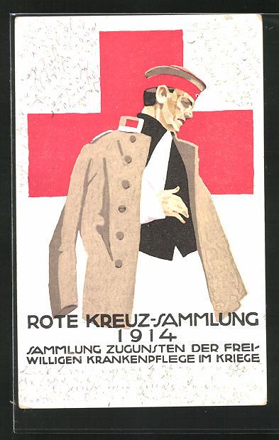 Künstler-AK Ludwig Hohlwein: Rotes Kreuz-Sammlung 1914 z. Freiwilligen Krankenpflege, Verwundeter Soldat