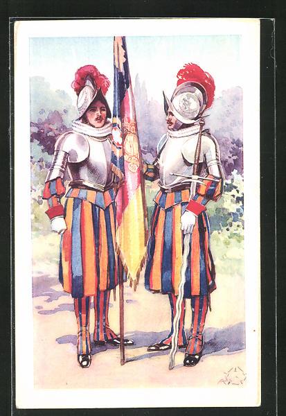 Künstler-AK Terzi: Schweizer Gardisten des Pontifex mit Flagge