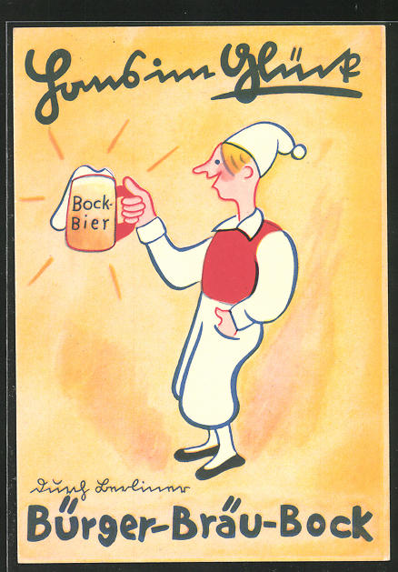 AK Brauerei-Werbung, Hans im Glück mit einem Krug Bürger-Bräu-Bock
