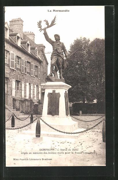 AK Domfront, Statue du Poilu, erigee en memoire des Soldats morts pour la France (1914-1918)
