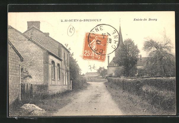 AK St.-Ouen-le-Brisoult, Ortspartie mit Blick zur Kirche