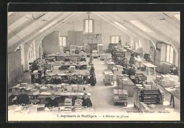 AK Montligeon, Imprimerie, L'Atelier de pliure