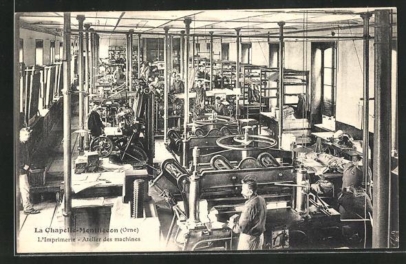 AK La Chapelle-Montligeon, Imprimerie, Atelier des Machines