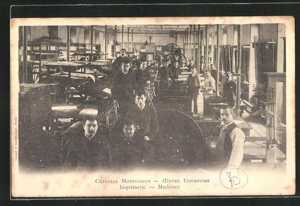 AK La Chapelle-Montligeon, Imprimerie, Oeuvre Expiatoire, Machines