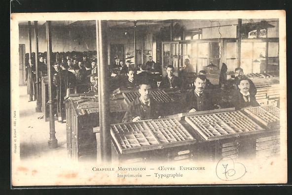 AK La Chapelle-Montligeon, Imprimerie, Oeuvre Expiatoire, Typographie