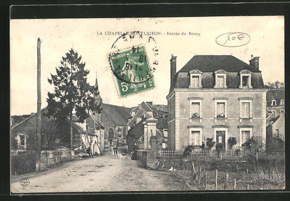 AK La Chapelle-Montligeon, Entree du Bourg