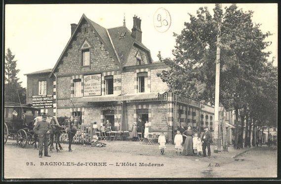 AK Bagnoles-de-l'Orne, L'Hotel Moderne, Pferdekutsche