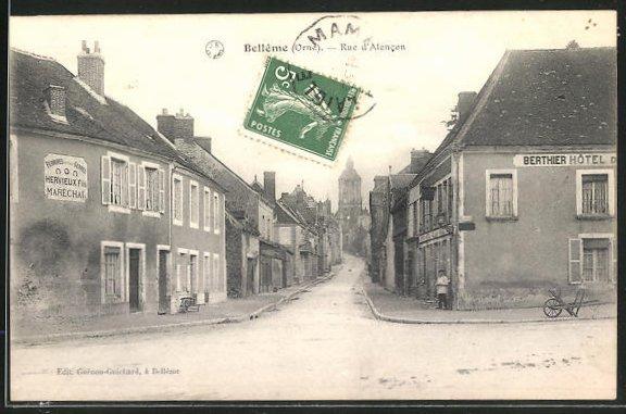 AK Belleme, Rue d'Alencon, Strassenpartie