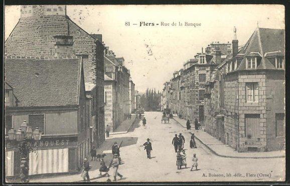 AK Flers, Rue de la Banque, Strassenpartie