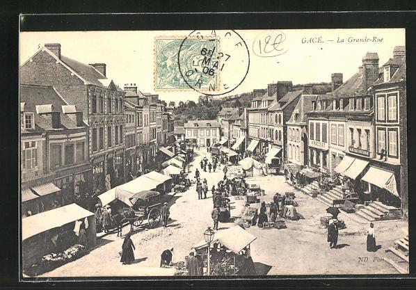 AK Gace, La Grande-Rue, Strassenpartie