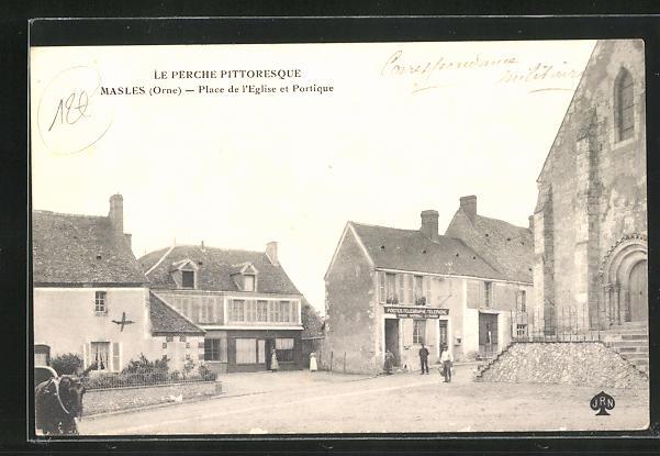 AK Masles, Place de l'Eglise et Portique