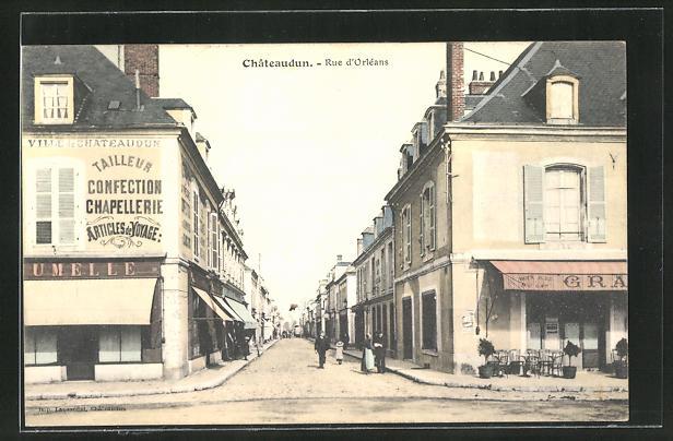 AK Chateaudun, Rue d'Orleans, Strassenpartie