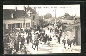 AK Courville, Cavalcade de Courville (2 Mai 1909), avenue de la Gare