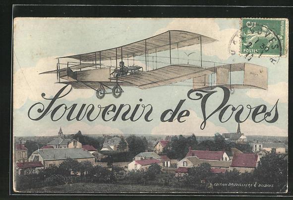 AK Voves, Doppeldecker Flugzeug