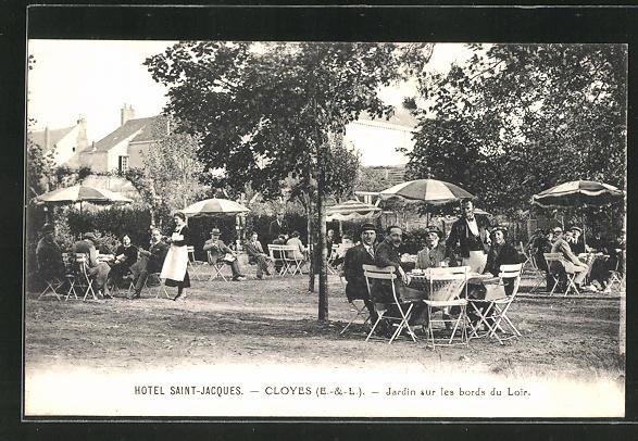 AK Cloyes, Hotel Saint-Jacques, Jardin sur les bords du Loir