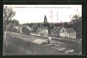 AK Thiron-Gardais, L'Ecole des Garcons et vue partielle prise des Jardins de l'Hopital