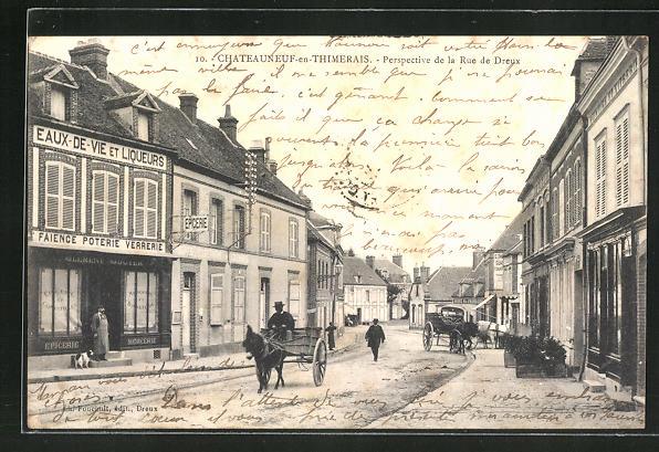 AK Chateauneuf-en-Thymerais, Perspective de la Rue de Dreux