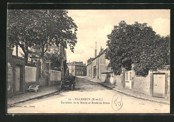 AK Villemeux, Carrefour de la Mairie et Route de Dreux