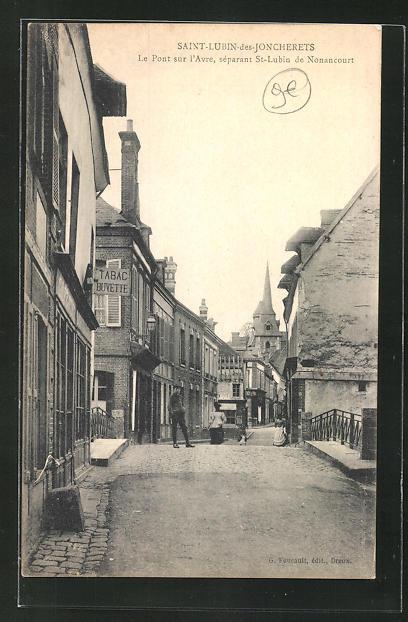 AK Saint-Lubin-des-Joncherets, le pot sur l`avre, separant St-Lubin de Nonancourt