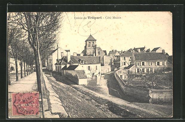 AK Trilport, Coté Meaux, Strassenpartie im Ort