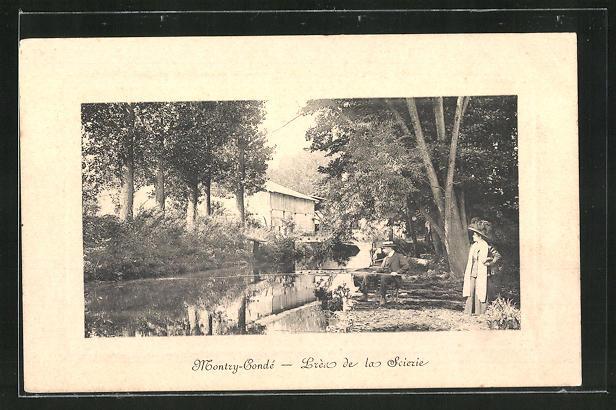 Präge-AK Montry-Conde, Waldpartie mit Holzhütte