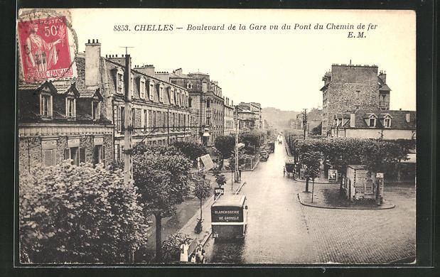 AK Chelles, Boulevard de la Gare vu du Pont du Chemin de fer