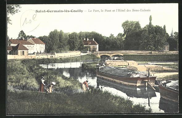 AK Saint-Germain-les-Couilly, Le Port, le Pont et l`Hotel des Bons-Enfants