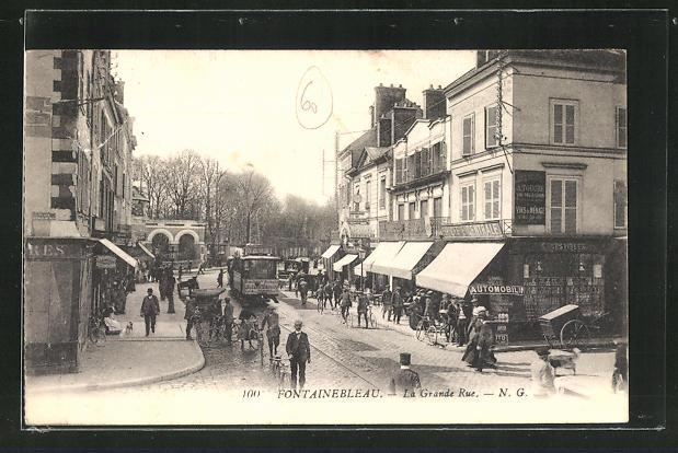 AK Fontainebleau, La Grande Rue, Strassenpartie