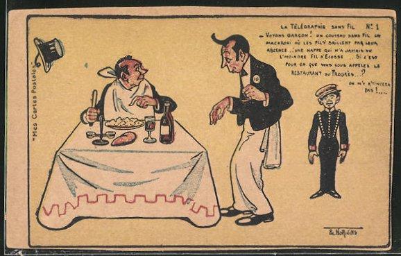 Künstler-AK sign. Ph. Norwins: Gast am Tisch beklagt sich beim Kellner