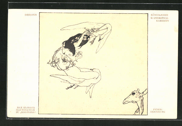 Künstler-AK Max Klinger: Illustration zu Kalidasa, Schwäne im Flug mit einer jungen Frau