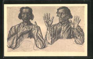 Künstler-AK Jan Toorop: Apostel Andreas und Jakobus sitzen an einem Tisch