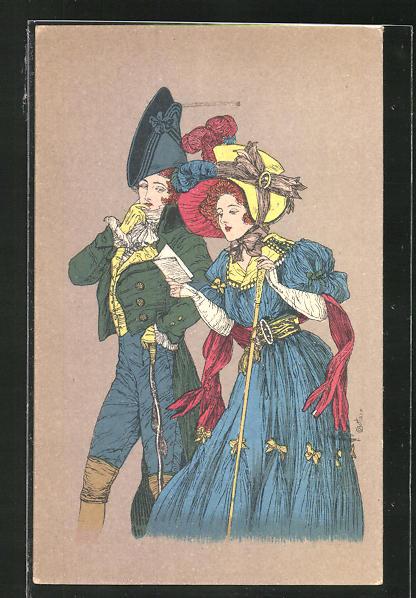 Künstler-AK E. Bottaro: Elegantes Paar im Biedermeier-Kostüm bei der Lektüre
