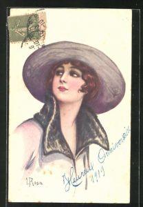 Künstler-AK sign. L. Rosa: Dame mit elegantem Hut und Kragenkleid