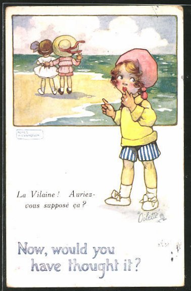 Künstler-AK Agnes Richardson: Kinder beim Strandspaziergang