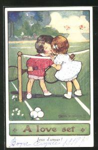 Künstler-AK Agnes Richardson: Kleine Tennisspieler küssen sich über dem Netz