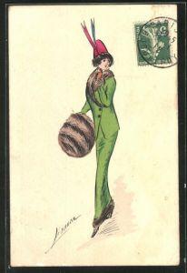 Künstler-AK Bianca: Elegante Dame im grünen Kostüm mit Pelzmuff