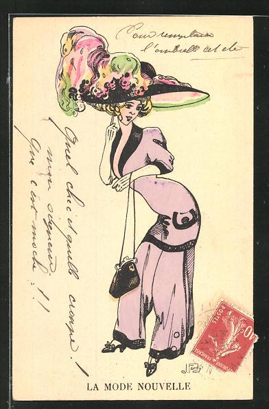 Künstler-AK sign. Fardy: Dame im lila Kostüm mit extravagantem Hut