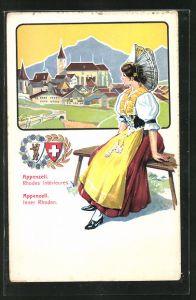 AK Appenzell, Frau in schweizer Tracht sitzt auf einer Bank und blickt auf den Ort