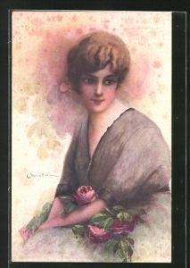 Künstler-AK C. Monestier: junge Dame mit Rose